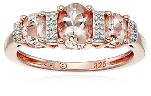 Rose Gold-Plated Sterling Silver, Morganite, and Diamond-...