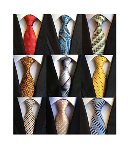 Welen+Lot+9+PCS+Classic+Men%27s+100%25+Silk+Tie+Necktie+Woven+JACQUARD+Neck+Ties+%28Style+03%29