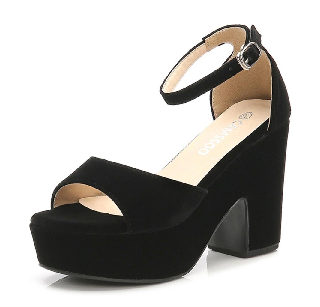 CAMSSOO Women's Solid Color Peep Toe Ankle Strap High Heels Sandals Chunk Heel Wedged Shoes Black Velveteen US7 EUR37