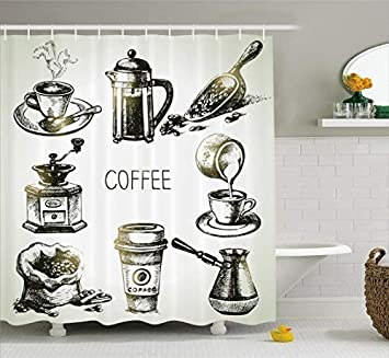 Coffee Shower Curtain Brewing Equipment Doodle Sketch Grinder French Press Plastic Cup Scoop Vintage