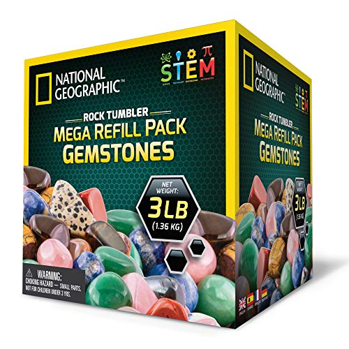 National Geographic Rock Tumbler MEGA Refill Kit - 3lbs Gemstones of 9 Varieties Including Tiger