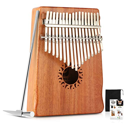 Donner 17 Key Kalimba Thumb Piano Finger Piano, Mbira Solid Mahogany Body DKL-17