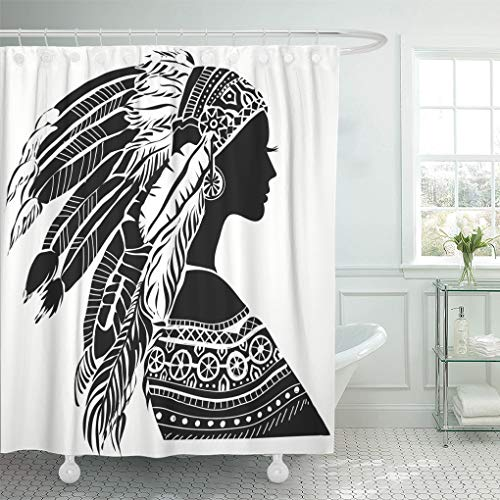 Emvency Shower Curtain Red Native Young Woman in Costume of American Indian Shower Curtains Sets with Hooks 60 x 72 Inches Waterproof Polyester Fabric