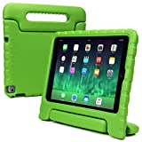 Samsung Galaxy Tab E 9.6 kids case, COOPER DYNAMO Heavy Duty Children's Rugged Tough Bumper Hard Protective Case Cover with Built-in Handle, Stand & Free Screen Protector (Green)