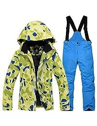 Girls Windproof Snow Jacket Insulated Ski Jacket + Pants Snowsuit