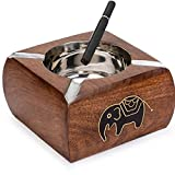 Khandekar (with device of K) Wooden Handmade Black Elephant Square Ashtray, Vintage Cigar Ashtray with Steel Bowl Fit on it, Ashtray for Indoor and Outdoor Use, Smoking Ashtray, 4 X 4 Inch