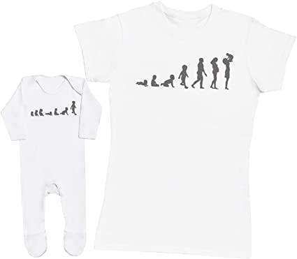 Womens T Shirt /& Baby T Shirt Evolution to Mummy /& Baby Matching Mother Baby Gift Set