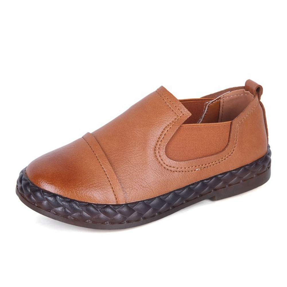 F-OXMY Boys Slip-On Elastic Oxfords Loafer Shoes Outdoor Non-Slip Casual Dress Shoes (Toddler/Little Kid) Brown