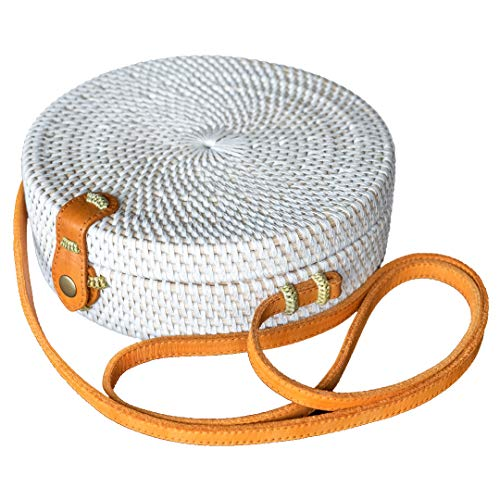 Bali Harvest Round Woven Ata Rattan Bag Linen Inside (with Genuine Leather Strap) (White) (Bali Bags Rattan)