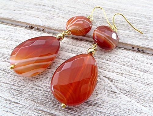 s, agate earrings, teardrop earrings, wedding earrings, modern jewelry ()