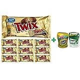 Twix Cookie Bars Caramel Milk Chocolate Fun Size - 6 Count (10 PACK)+ Fruity Chews Gum Watermelon 1/60 Count + Trident Go Cup Spearmint 1/60 Count (BUNDLE)