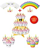 Rainbow Unicorn Cupcake Toppers and Wrappers w BONUS Gold Cupcake Stand - Themed Glitter Horn Cake Topper + Rainbow Wrapper DIY Baking Decorations Kit, Kids Birthday Party Supplies Accessories| 48pcs