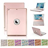 Reliancer New iPad 9.7 Bluetooth Wireless Keyboard Case for 2018�7 Release New iPad(A1822/A1823) & iPad Air w/7 Colors Back-lit Protective Aluminium Alloy Keyboard Cover 130 Screen Rotation
