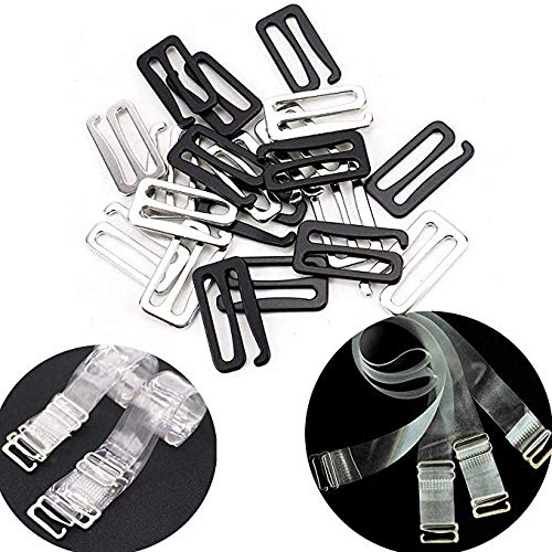 30 Pieces Metal Swim Suit Bra Hooks Replacements Bra Strap Slide Hook Nylon Coated 9 Shape (Inner Diamater 25mm, Black/Silver)