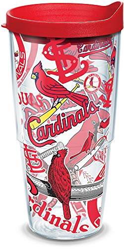 (Tervis MLB St Louis Cardinal Ls All Over Tumbler with RD1 Travel Lid, 24 oz, Clear)