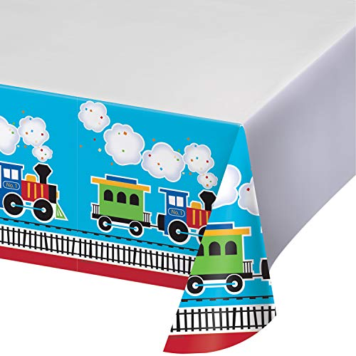All Aboard Train Plastic Tablecloths, 3 ct