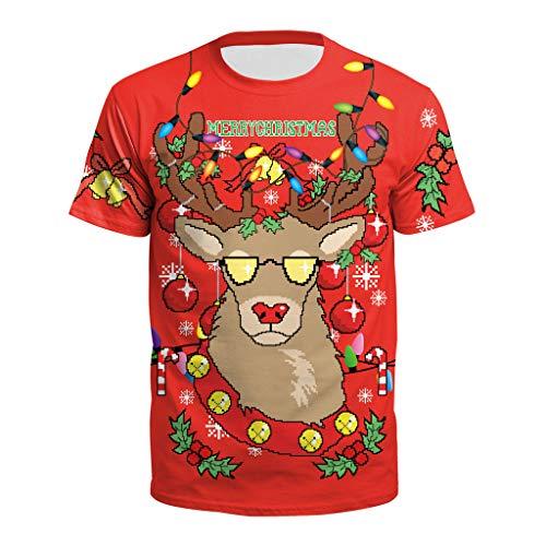 Santa Stampa Unisex Buon Zolimx Shirt Xmas Uomini rosso 2 Tee Manica Natale Donne red Corta Top Camicetta nx0S4wnYq
