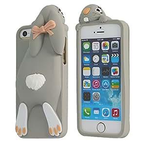 Moonmini - Funda protectora para iPhone 4/4S, en 3d, de silicona (Conejito mostrando sus dientes)