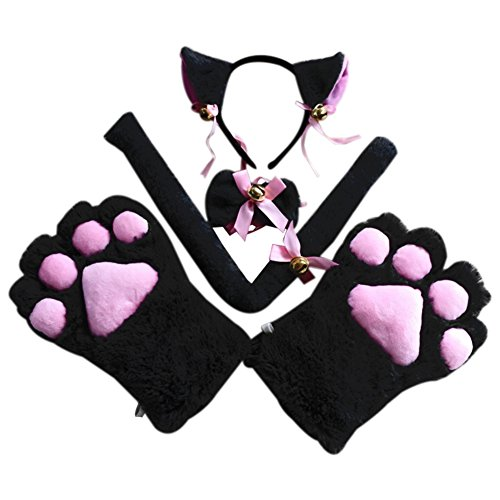 Song Qing Party Cosplay Costume Cat Ears Faux Fur Head Hoop Headband + Bowtie + Paw Gloves + Tail Set (Black) ()