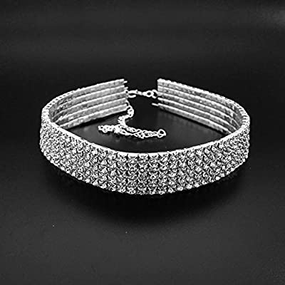 JSEA 3 5 Row Clear Rhinestone Wide Choker Necklace Silver Plated Collar Necklace Women