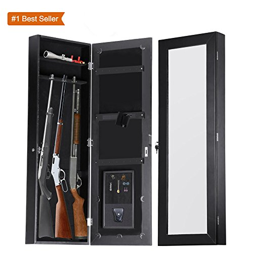 Gun Cabinet Armoire Hidden In The Wall Mirror Rifle and Pistol Safe (Holds Small 35.5