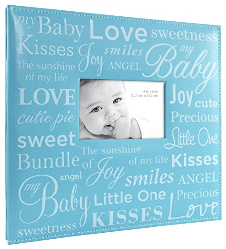 MCS MBI 13.5x12.5 Inch Baby Scrapbook Album with 12x12 Inch Pages with Photo Opening, Blue (850032)