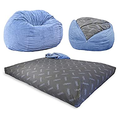CordaRoy's - Slate Chenille Beanbag Chair - Full Sleeper