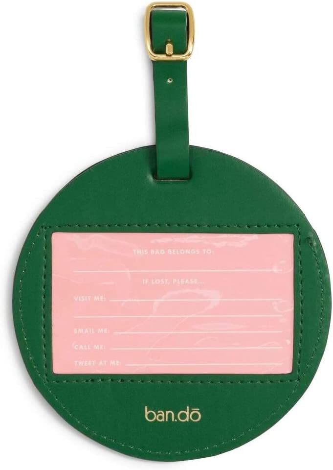 Sunburst ban.do Womens Getaway Leatherette Circle Luggage Tag with Strap