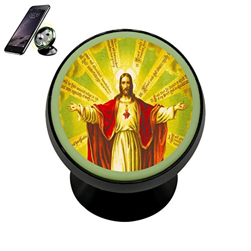 Universal Golden Shine Jesus Sacred Heart Magnetic Car Vehicle Phone Holder 360 With Noctilucent Function -