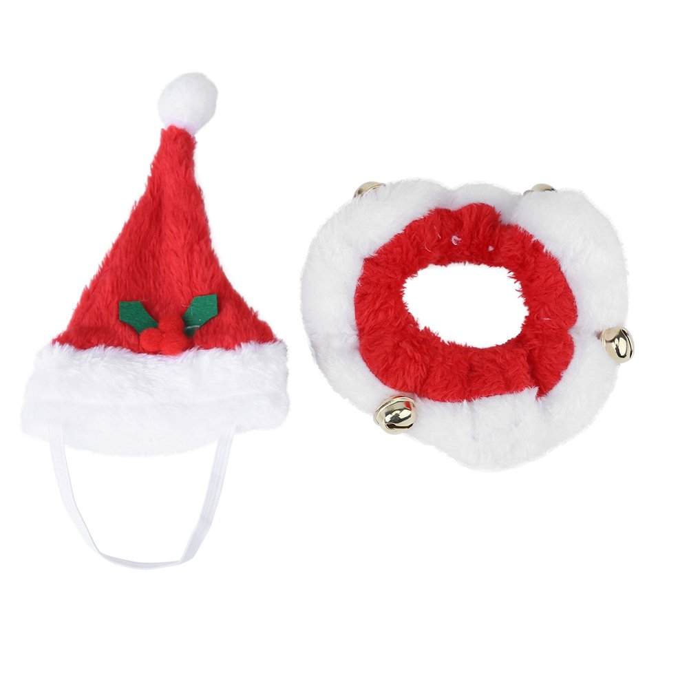 Cappello da Babbo Natale Cane da compagnia Gatto Cucciolo Cappello di Natale Accessorio per animali domestici Caldo Inverno Autunno Cappello + colletto(M) Estink