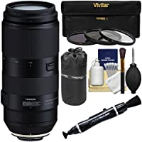 Tamron 100-400mm f/4.5-6.3 Di VC USD Zoom Lens with 3 UV/CPL/ND8 Filters + Pouch Kit for Canon EOS Digital SLR Cameras