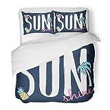 SanChic Duvet Cover Set Girl Sunshine Slogan Badges Tropical Hawaii Baby Beach Beautiful Decorative Bedding Set Pillow Sham Twin Size