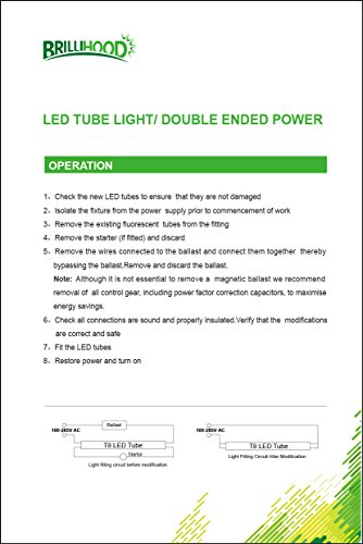 Brillihood T8 LED Shop Light Tube, 4FT, 18w (40W equivalent), Dual-End Powered, 6000K Cool White, 2000 Lumens, Clear Cover Lens, T8 T10 T12 Fluorescent Bulbs Replacement, (Pack of 10) by Brillihood (Image #8)