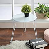 GreenForest End Coffee Table MDF Wood, Stackable Folding Accent Table for Living/Waiting Room or Balcony/Matte White