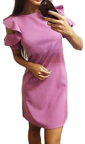 32c30464e54e Rrive Women Cold Shoulder Short Sleeve Slim Fit Stylish Ruffle Solid Mini  Dress at Amazon Women's Clothing store: