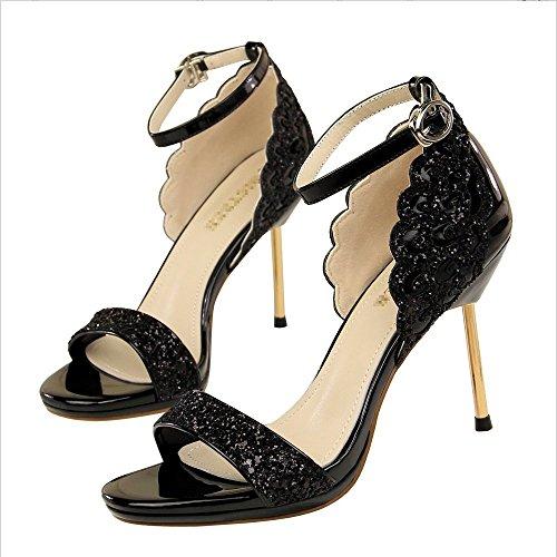 De MariéeXIAOQI Forme Sangles Paillettes De Ouvert De Plate Bout Mesdames Hauts Sandales Chaussures Mariée LIANGXIE De Dames Talons Cheville Furtivement Noir À qtFRWPv