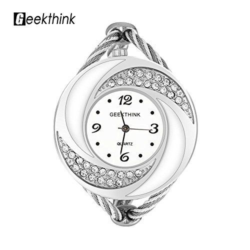 (VGEBY Women Bangle Watch Quartz Analog Bracelet Wrist Watch Band for Girl Woman Lady(Silver White))
