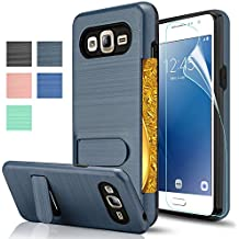Galaxy J2 Prime Case,Galaxy Grand Prime Plus Case With HD Screen Protector,AnoKe[Card Slots Holder][Not Wallet]Kickstand Plastic TPU Hybrid Shockproof For Samsung Galaxy J2 Prime KC1 Metal Slate