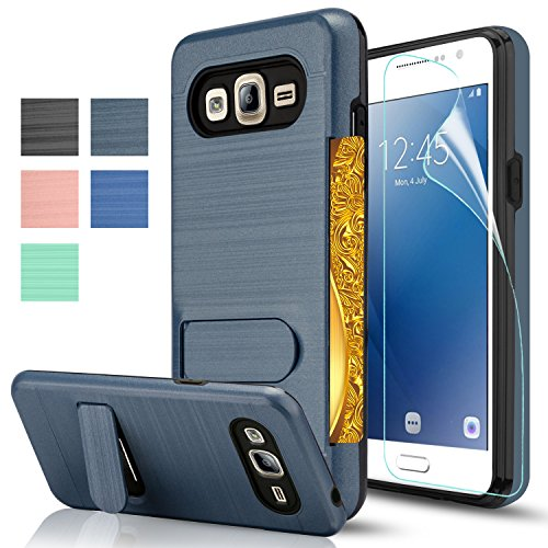 Galaxy J2 Prime Case,Galaxy Grand Prime Plus Case With HD Screen Protector,AnoKe[Card Slots Holder][Not Wallet]Kickstand Plastic TPU Hybrid Shockproof For Samsung Galaxy J2 Prime KC1 Metal Slate (Galaxy Slate)