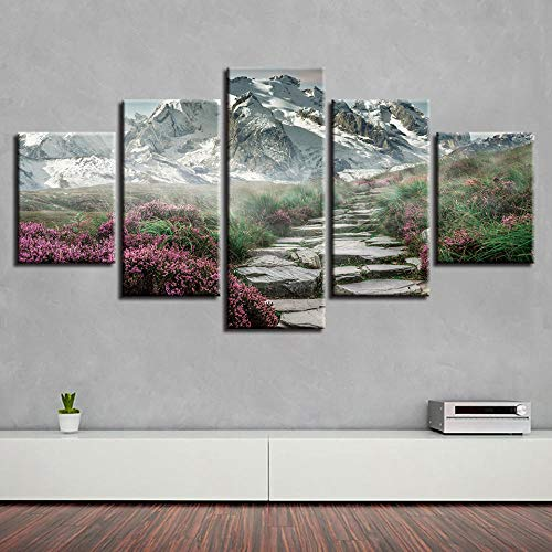 Modern Home Wall Art Decor Mountain Fog Shrouded HD 5 Pieces Print Oil Painting Scenery Lakes On Canvas16x24/32/40 inch,Without Frame -