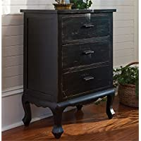 Three Drawer Chest, Aged Black 24-906