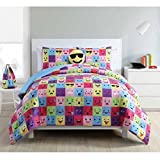 Emoji Bed in a Bag Full Home Facey Square Emoji Reversible 4 Piece Twin Bedding Comforter Set