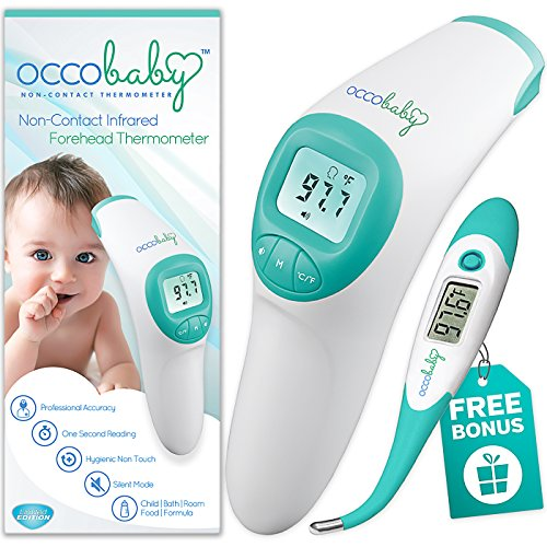 OCCObaby Clinical Forehead Baby Thermometer - Limited Edition with Flexible Tip Waterproof Digital Thermometer for Infants & Toddlers | Instant Read Non-Contact Infrared Scanner