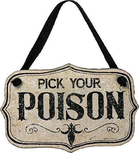 Primitives by Kathy PBK Halloween Decor - Pick You Poison Small Sign Ornament -