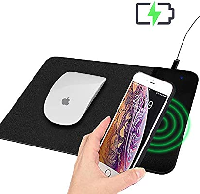 Wireless Charger Mouse Pad 2 in 1 Qi Wireless Fast Charging Mouse Mat for iPhone X//XS MAX//X//8//8 Plus Samsung Galaxy S10//S9//S7 Note 10//9//8