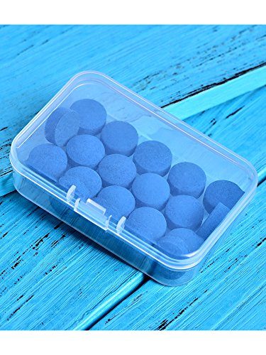 Gejoy 20 Pieces Cue Tips 13 mm Pool Billiard Cue Tips Replacement with Storage Box for Pool Cues and Snooker, Blue
