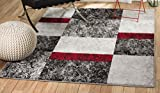 SUMMIT BY WHITE MOUNTAIN Rio WW-4RZT-FSS1 Summit 310 Grey Red Black Area Rug Modern Abstract Many Sizes Available (3′.6″ x 5′), 3′.6″ x 5′ Review
