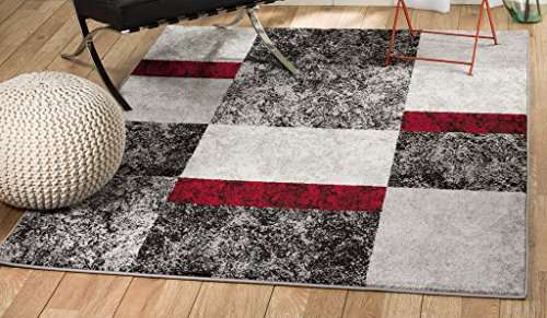 Rio WW-4RZT-FSS1 Summit 310 Grey Red Black Area Rug Modern Abstract Many Sizes Available  (3'.6
