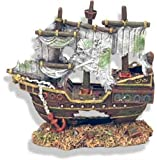 Exotic Environments Sunken Pirate Shipwreck Aquarium Ornament, 8-Inch by 4-1/2-Inch by 8-Inch