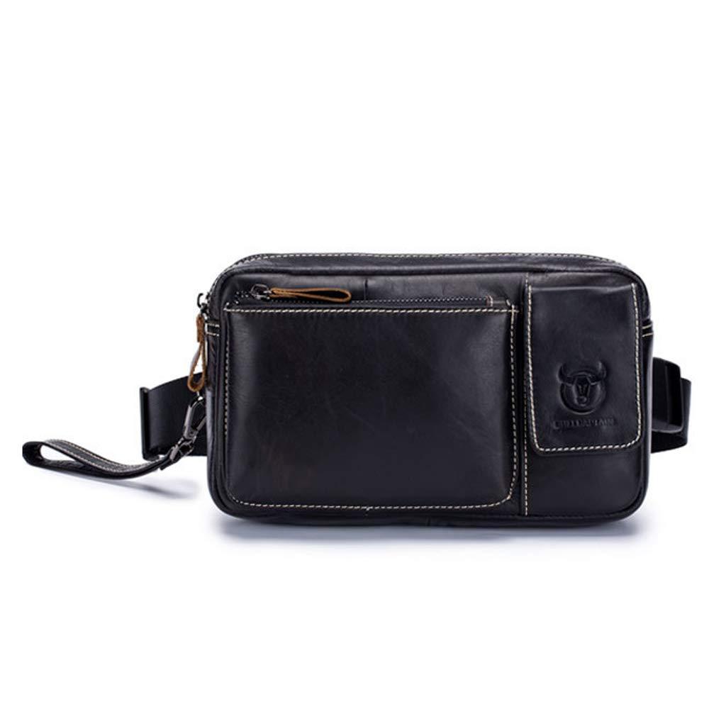 Color : Black, Size : M MUMUWU Mens Pockets Leather Multi-Function Shoulder Messenger Bag Leather Card Pocket Mens Chest Bag